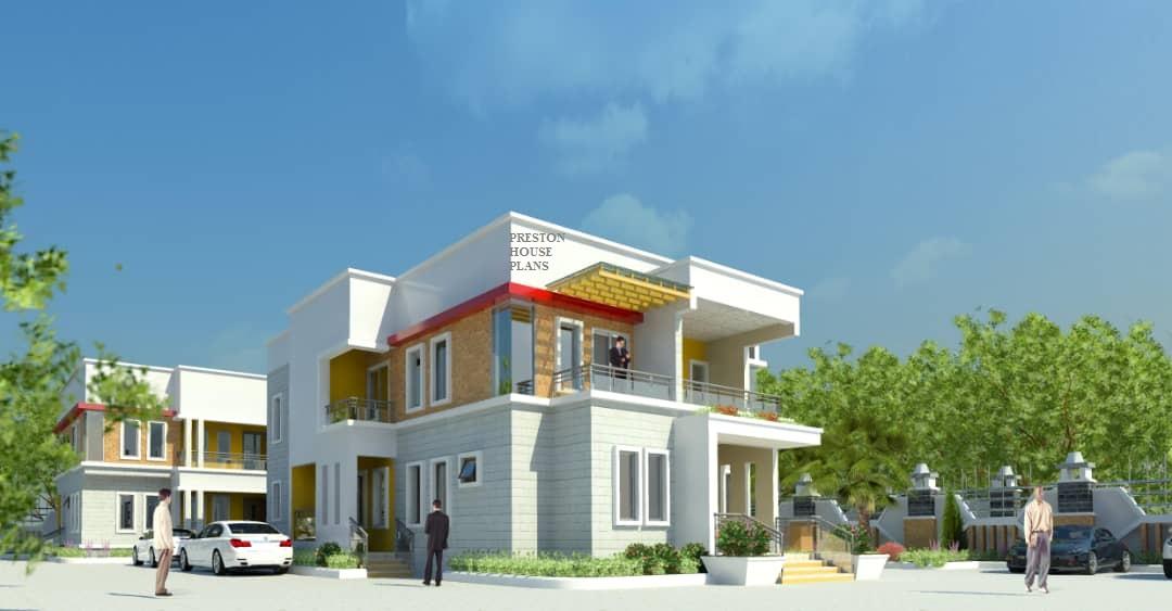 Four bedroom modern flat roof duplex