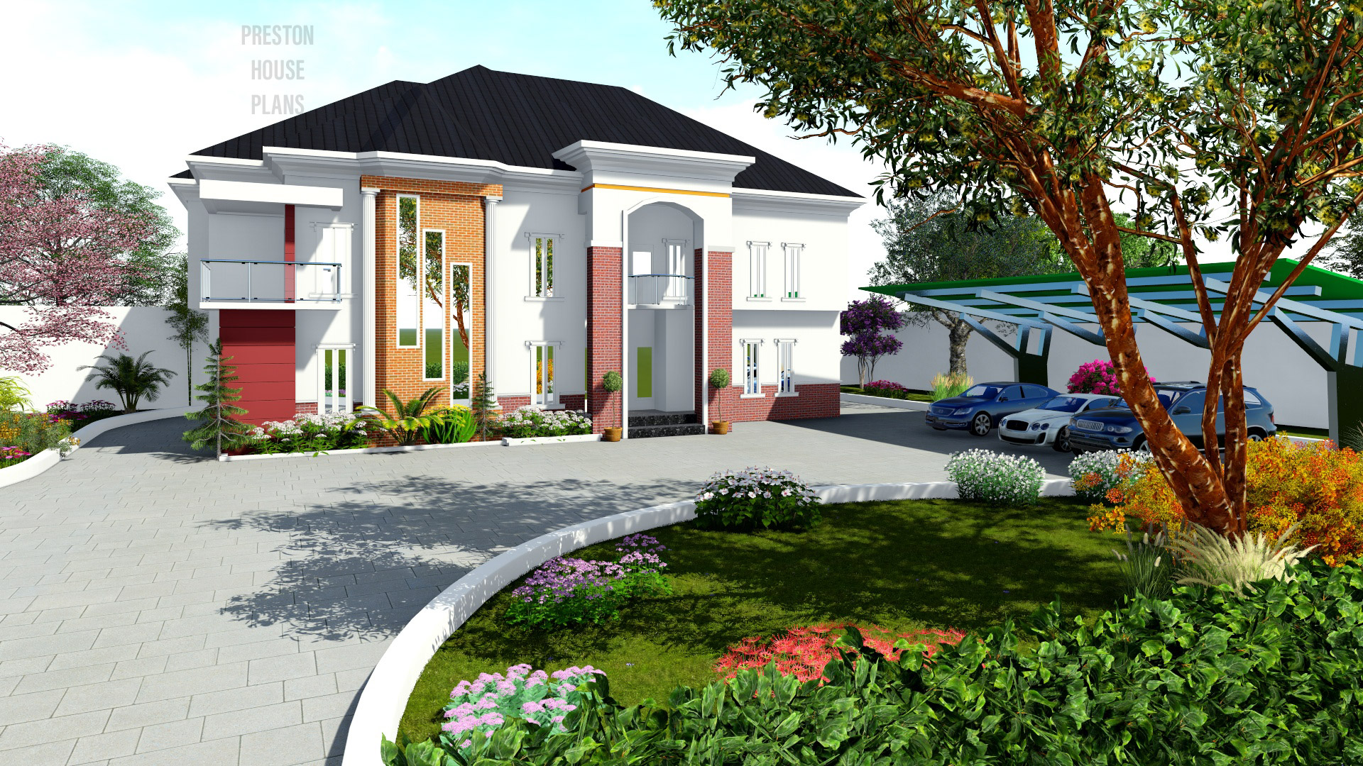 Five bedroom house plan with an extra independent bedroom