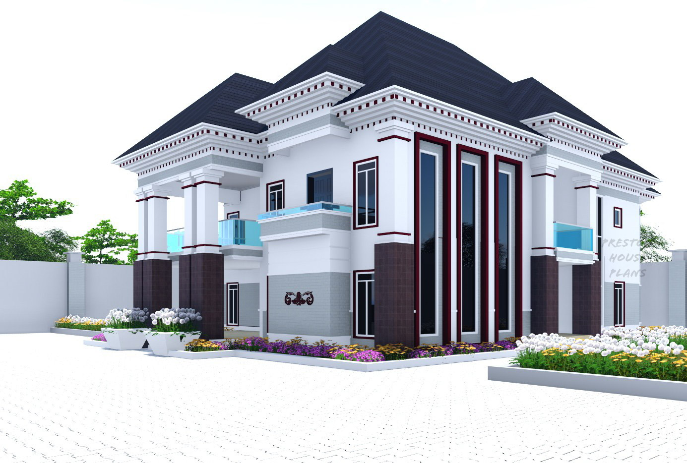 Brown and white five bedroom duplex
