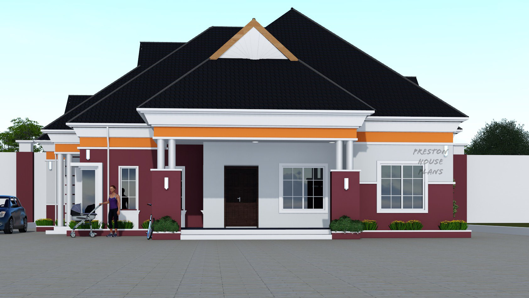 Three bedroom bungalow front view