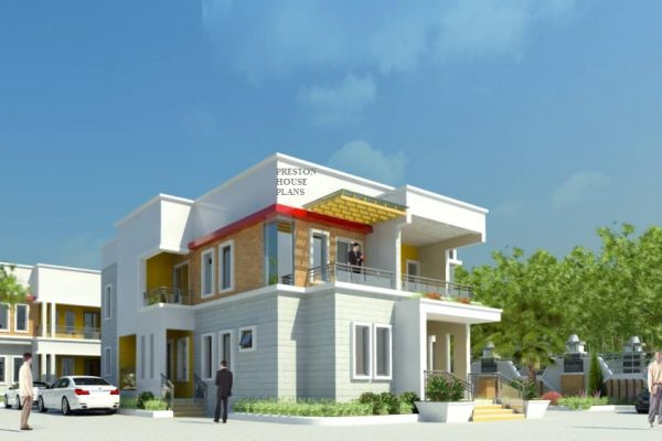 Four bedroom modern flat roof duplex
