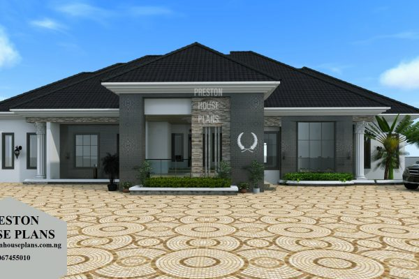 Five bedroom luxurious black bungalow front view